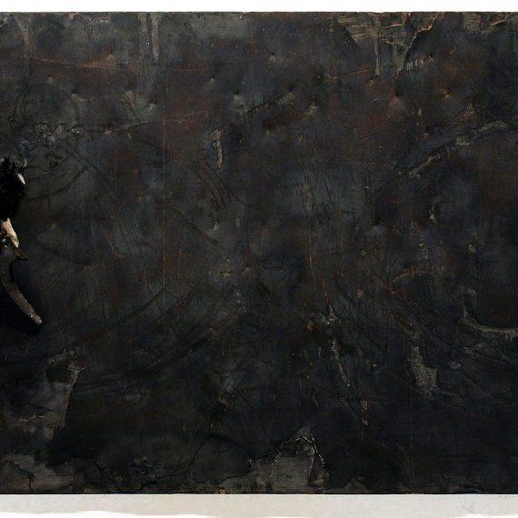 Viestintuoja, 2012, poltettu kierrätysvaneri, 155 x 230 cm