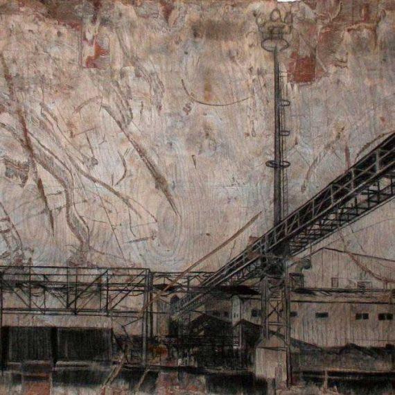 Tehdas II, 2009, hiili ja kuivaliitu kierrätysvanerille, 315 x 155 cm