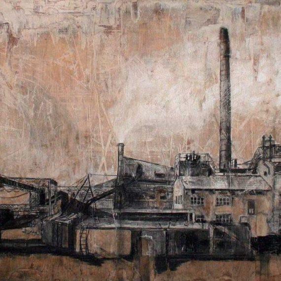 Tehdas III, 2009, hiili ja kuivaliitu kierrätysvanerille, 315 x 155 cm