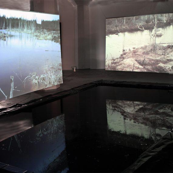 Lumijoki, 2013, mediainstallaatio, 11 min. HD video, silent (vesiallas ja heijastuskuvat polykarbonaattilevyillä) Galleria Huuto, Jätkäsaari