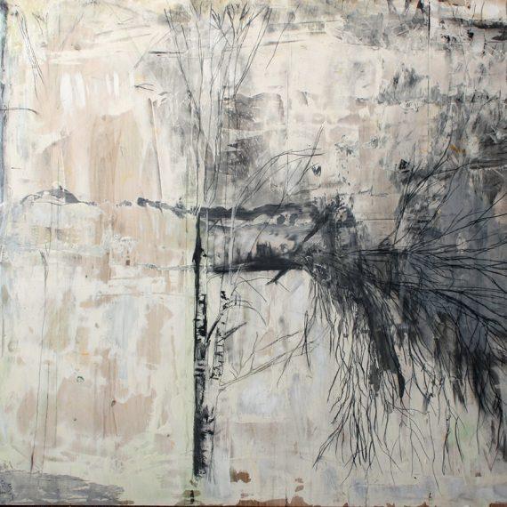 Koivu, 2014, guassi ja hiili vanerille, 240 x 125 cm
